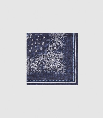 Reiss BOLOGNA SILK DOUBLE SIDED POCKET SQUARE Navy