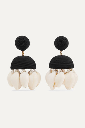 Rebecca De Ravenel + Aquazzura Riviera Cord, Bead And Shell Clip Earrings - Black