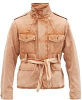 Rochas Belted Garment-dyed Cotton-blend Twill Jacket - Mens - Orange