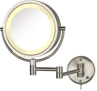 Jerdon HL75N 8.5-Inch Lighted Wall Mount Makeup Mirror with 8x Magnification