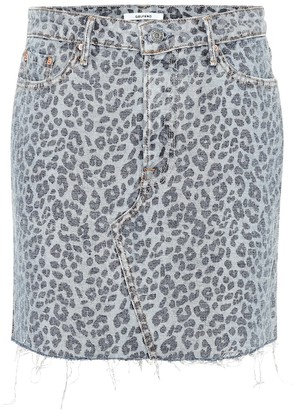 GRLFRND Blaire leopard denim miniskirt