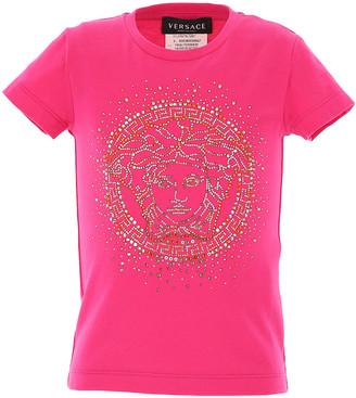 Versace Kids' Short-Sleeve T-Shirt with Rhinestone Gold Medusa, Size 4-6
