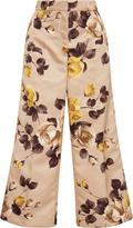 Rochas Cropped Floral-Print Satin Pants