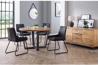 Camilla And Marc Julian Bowen Brooklyn 120 cm Solid Oak and Metal Round Dining Table + 4 Soho Chairs