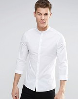 Asos Skinny Shirt With Grandad Collar And Long Sleeves In White