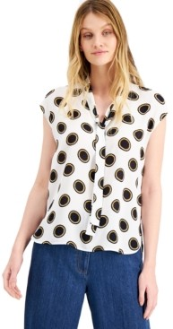 Bar III Dot-Print Tie-Neck Blouse, Created for Macy's