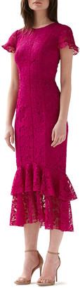 ML Monique Lhuillier Short-Sleeve Tiered Ruffle-Hem Lace Dress