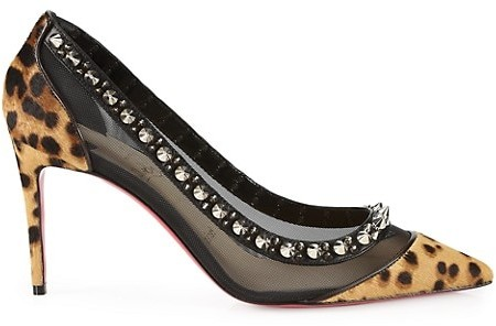 Thumbnail for your product : Christian Louboutin Galativi Leopard-Print Spiked Mesh Pumps