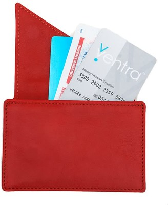 Holly & Tanager Insider Leather Card Holder Wallet In Red