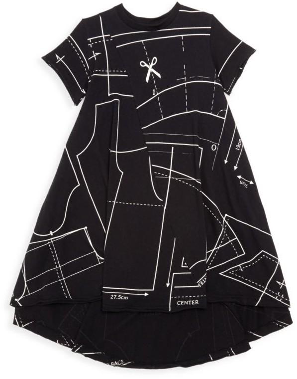 Nununu Little Girl's Sewing Pattern Graphic T-Shirt Dress