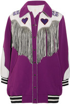 Anna Sui Fringed Appliquéd Crepe Jacket - Purple
