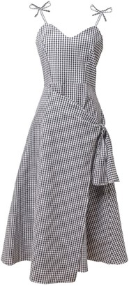 Tomcsanyi Erd Black & White Overlap Skirt Midi Dress