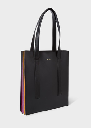 Womens Black Concertina Leather Tote Bag