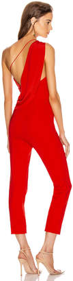 Cushnie One Shoulder Fitted Cropped Jumpsuit in Vermilion | FWRD