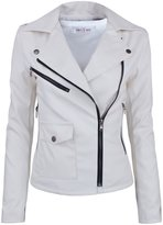 Tom's Ware Womens Fashionable Assymetrical Zip-up Faux Leather Jacket TWPJW01-02-WHITE-US L