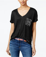 Tommy Hilfiger Linen Sequined T-Shirt, Only at Macy's