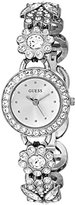 GUESS Women's U0527L1 Silver-Tone Jewelry Inspired Watch with Genuine Crystals & Self-Adjustable Bracelet