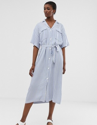 Weekday tie waist midi dress in light blue and white stripes