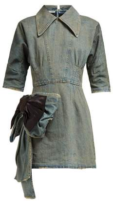 Miu Miu Bow-trim Denim Mini Dress - Womens - Denim