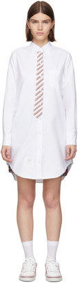 Thom Browne White Trompe LOeil Tie Shirt Dress