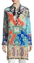 Etro Paisley-Print Long-Sleeve Tunic, Multi Colors