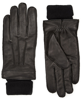 Autograph Italian Leather Cuff Knitted Gloves With Thinsulatetm