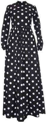 Monique Black Polka Dot Maxi High Collar Dress With Long Sleeves
