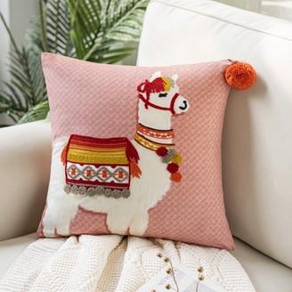 "Phantoscope Embroidered Alpaca Decorative Throw Pillow, 18"" x 18"""