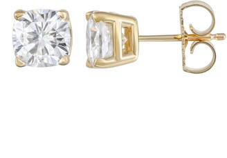Charles & Colvard 14k Gold 2 1/5 Carat T.W. Lab-Created Moissanite Cushion Stud Earrings