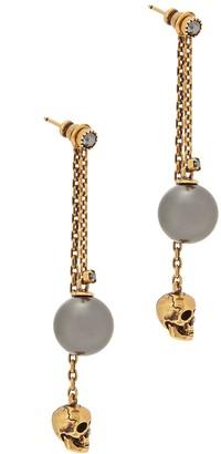 Alexander McQueen Skull And Faux Pearl Gold-tone Drop Earrings