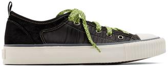 Lanvin Black Velvet and Nylon Low-Top Sneakers
