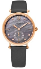 Stuhrling Original Alexander Watch A201-04, Ladies Quartz Small-Second Watch with Rose Gold Tone Stainless Steel Case on Gray Satin Strap