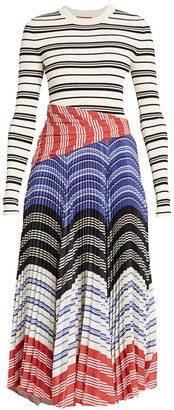 Altuzarra Woodbine Mixed Media Stripe Midi Dress