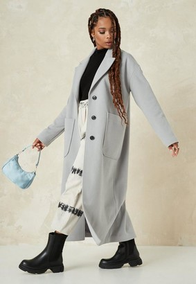 Missguided Gray Oversized Long Coat