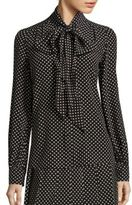 Marc Jacobs Polka-Dot Silk Tie-Neck Blouse