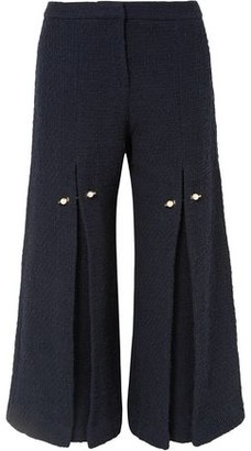 Mother of Pearl Bennie Faux Pearl-embellished Pleated Cotton-tweed Wide-leg Pants