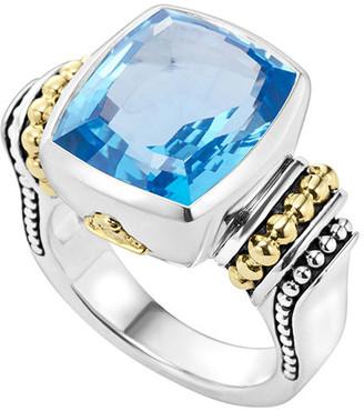 Lagos Caviar Color 14mm Blue Topaz Ring, Size 7