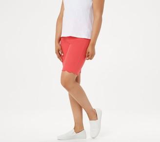 Isaac Mizrahi Live! Regular 24/7 Stretch Scallop Hem Bermuda Shorts