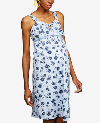 A Pea in the Pod Maternity Tie-Front Floral-Print Dress