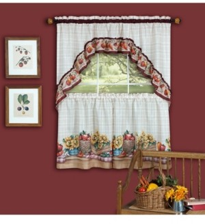 Achim Farmer's Market Printed Tier and Swag Window Curtain Set, 57x24