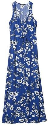 Lucky Brand Sleeveless Tie Waist Maxi Dress (Navy Multi) Women's Clothing