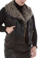 Plus Size Women's Elvi Textured Faux Leather Vest With Faux Fur Collar