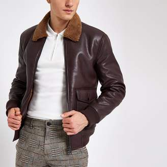 River Island Mens Burgundy faux leather borg collar jacket