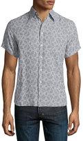 Billy Reid Tuscumbia Printed Short-Sleeve Shirt, Gray