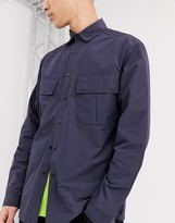 Asos Design ASOS DESIGN nylon overshirt in navy with angled pockets