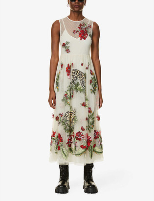 RED Valentino Felines in a Flower Jungle embroidered tulle midi dress