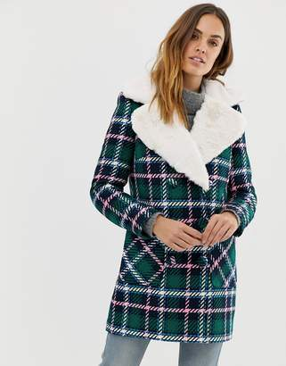 Naf Naf check coat with faux fur collar-Multi