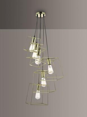 Dar Tower 6 Pendant Cluster Ceiling Light, Polished Gold