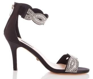 Dorothy Perkins Womens *Quiz Black Satin Twist Diamante Sandals, Black