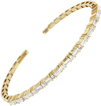 Suzanne Kalan Small Fireworks Horizontal Baguette Bangle Bracelet - Yellow Gold